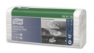 Skládané čistící utěrky Tork Heavy-Duty 530178 - jednovrstvé, 42,8x38,5 cm, netkaná textilie, bílé, systém W4, 5x100 útržků