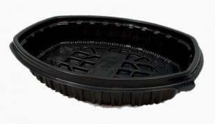 Plastový menu box do mikrovlnné trouby 1200 ml - jednodílný, PP, 258x202x48 mm, černý, 30 ks