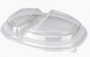 Plastové víčko pro menu box do mikrovlnné trouby 800 ml - dvojdílné, PP, transparentní, 35 ks