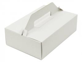 Výslužková odnosová krabice - s uchem, 18,5x15x9,5 cm, bílá, 50 ks