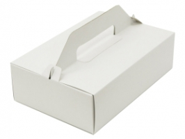 Výslužková odnosová krabice - s uchem, 23x16x7,5 cm, bílá, 50 ks