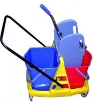 Úklidový vozík Roll-Mop - 2x17 l, se ždímačem, plastový