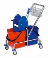 Úklidový vozík Roll-Mop - 2x15 l, se ždímačem a košíkem, chromovaný