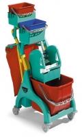 Úklidový vozík Nick Plus 30 TEC - 1x25 l, se ždímačem, držák na 2 pytle, 2 vaničky