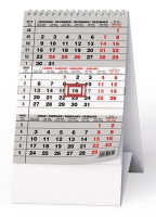 Stolní kalendář BSA7 - Mini, šedý, tříměsíční
