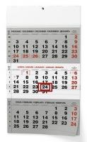 Nástěnný pracovní kalendář BNC0 - A3, šedý, tříměsíční