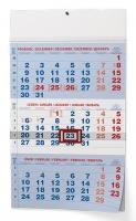 Nástěnný pracovní kalendář BNC1 - A3, modrý, tříměsíční