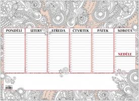 Stolní plánovací podložka - antistres, A3, týdenní, 30 listů