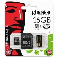 Paměťová karta Kingston - micro SDHC, s adaptérem a čtečkou, UHS-I U1, 16 GB