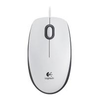 Drátová myš Logitech B100 - optická, 3 tlačítka, kolečko, bílá