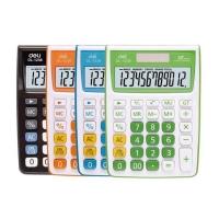 Stolní kalkulačka Deli E1238 - 1 řádek, 12 znaků, bílo-oranžová