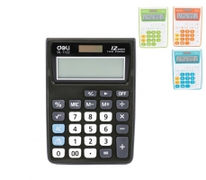 Stolní kalkulačka Deli E1122 - 1 řádek, 12 znaků, mix barev