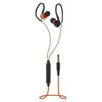 Špuntová sluchátka Defender OutFit W770 - s mikrofonem, jack 3,5 mm, černo-oranžové