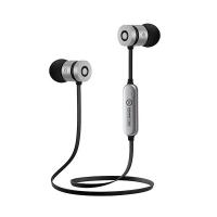 Špuntová sluchátka Powerton W2 -  s mikrofonem, bluetooth, černo-stříbrné