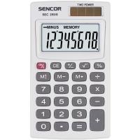 Kapesní kalkulačka Sencor SEC 255/8 Dual - 1 řádek, 8 znaků, bílá