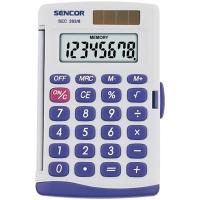 Kapesní kalkulačka Sencor SEC 263/8 Dual - 1 řádek, 8 znaků, bílá