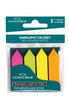 Samolepící záložky Concorde - 11x43 mm, papírové, šipky, 4x40 listů, neon, mix barev
