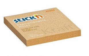 Samolepící bloček Stick n Hopax Kraft Notes - 76x76 mm, 100 listů, hnědý