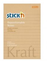 Samolepící bloček Stick n Hopax Kraft Notes - 150x101 mm, linkovaný, 100 listů, hnědý