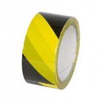 Výstražná lepící páska - akrylát, 48x60 m, žluto-černá
