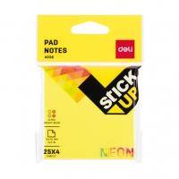 Samolepící bloček Deli Stick Up EA02602 - 76x76 mm, neon, 4x25 listů, 4 barvy