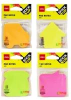 Samolepící bloček Deli Stick Up EA03102 - 69x69 mm, neon, 4x20 listů, mix motivů, 4 barvy