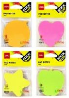 Samolepící bloček Deli Stick Up EA03202 - 69x69 mm, neon, 4x20 listů, mix motivů, 4 barvy