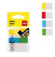Samolepící záložky Deli Stick Up mini set EA10702 - 38x25 mm, plastové, 4x10 záložek, 4 barvy