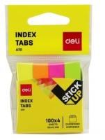Samolepící záložky Deli Stick Up mini set EA11102 - 50x12 mm, papírové, 4x100 listů, neon, 4 barvy
