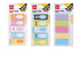 Samolepící záložky Deli Stick Up mini set EA64002 - 45x15 mm, plastové, 5x30 listů, mix motivů