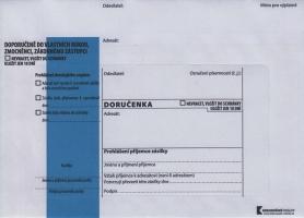 Obálka B6 s doručenkou a poučením Správní řád - krycí páska, modrý pruh, odtrhávací, 1000 ks