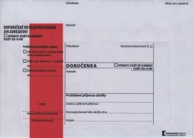 Obálka B6 s doručenkou a poučením Správní řád - krycí páska, červený pruh, odtrhávací, 1000 ks