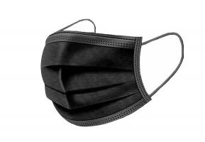 50 ks jednorázové ochranné roušky Medical - třívrstvé, jemný PP materiál, černé