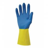 Úklidové rukavice Duo Plus 60 S-7 - gumové-latexové, žluto-modré
