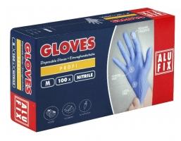 Jednorázové rukavice Alufix M - nitril, bez pudru, modré, 100 ks