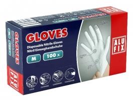 Jednorázové rukavice Alufix M - nitril, bez pudru, bílé, 100 ks