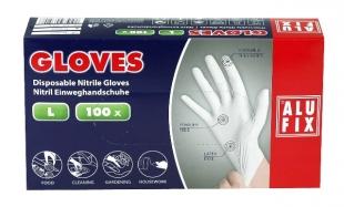 Jednorázové rukavice Alufix L - nitril, bez pudru, bílé, 100 ks - DOPRODEJ