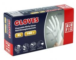 Jednorázové rukavice Alufix XL - nitril, bez pudru, bílé, 100 ks