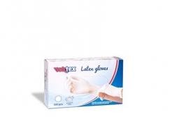 Vyšetřovací rukavice S Vektex - latex, pudrované, bílé, 100 ks - DOPRODEJ