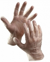 Vyšetřovací rukavice M - vinyl, bez pudru, čiré, 100 ks