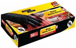 Vyšetřovací rukavice M Fino - nitril, bez pudru, černé, 50 ks - DOPRODEJ