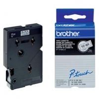 Brother originální páska do tiskárny štítků, Brother, TC-101, černý tisk/průsvitný podklad, laminovaná, 8m, 12mm