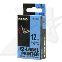 Casio originální páska do tiskárny štítků, Casio, XR-12BU1, černý tisk/modrý podklad, nelaminovaná, 8m, 12mm