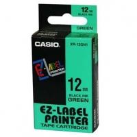 Casio originální páska do tiskárny štítků, Casio, XR-12GN1, černý tisk/zelený podklad, nelaminovaná, 8m, 12mm