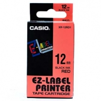 Casio originální páska do tiskárny štítků, Casio, XR-12RD1, černý tisk/červený podklad, nelaminovaná, 8m, 12mm
