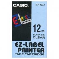 Casio originální páska do tiskárny štítků, Casio, XR-12X1, černý tisk/průhledný podklad, nelaminovaná, 8m, 12mm