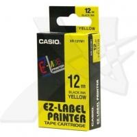 Casio originální páska do tiskárny štítků, Casio, XR-12YW1, černý tisk/žlutý podklad, nelaminovaná, 8m, 12mm