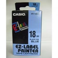 Casio originální páska do tiskárny štítků, Casio, XR-18BU1, černý tisk/modrý podklad, nelaminovaná, 8m, 18mm