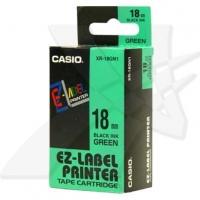 Casio originální páska do tiskárny štítků, Casio, XR-18GN1, černý tisk/zelený podklad, nelaminovaná, 8m, 18mm
