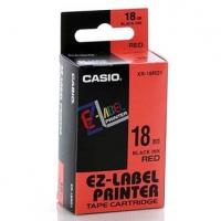 Casio originální páska do tiskárny štítků, Casio, XR-18RD1, černý tisk/červený podklad, nelaminovaná, 8m, 18mm